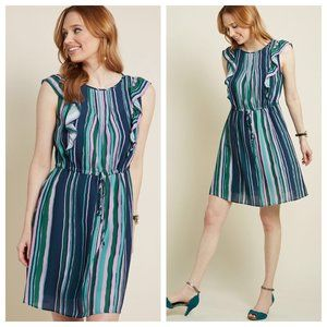 Modcloth Striped Get Into Ruffle A-Line Dress